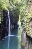 Waterfall in Takachiho gorge in Kyushu stock images