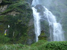 Waterfall in Tal - Annapurna trekking Nepal Stock Image