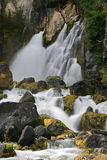Waterfall. Tarawera Falls, is not like most waterfalls, in that water surges up from underground and is forced through a crack in the cliff face, 55000 litre's Stock Images