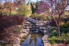 Waterfall at Ted Ensley Botanical Gardens. Taken during early spring stock photography
