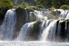 Waterfall terraces. Fragment of huge, wild, rapid waterfall terraces Stock Images