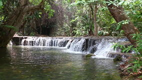 Waterfall in Thailand. Huay mae kamin waterfall in Thailand stock footage