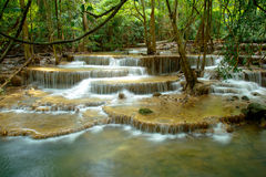 Waterfall in Thailand. Huay mea khamin waterfall in the rainy season Stock Photo