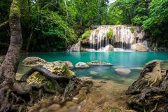 Waterfall in Thailand name Erawan in forest at Kanchanaburi prov Stock Images