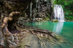 Waterfall in Thailand name Erawan in forest at Kanchanaburi prov Stock Image