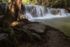 Waterfall in Thailand with tree root as foreground Stock Photography