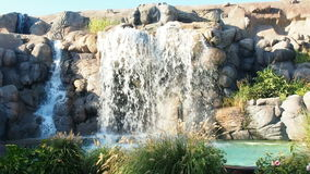 Waterfall at theme park stock footage