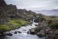 Waterfall at Thingvellir National Park Royalty Free Stock Photo