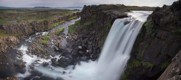 Waterfall in thingvellir Stock Image