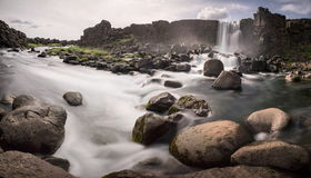 Waterfall in thingvellir Royalty Free Stock Photography