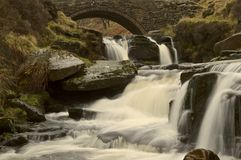 Waterfall at Three Shires Head Royalty Free Stock Images