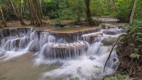 Waterfall time lapse. Timelapse at tropical Hui mae Kamin Waterfall, 4K Time lapse stock footage