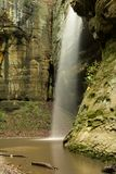 Waterfall in Tonti canyon. Water cascading over Tonti canyon, Starved Rock state park, Illinois Stock Photo
