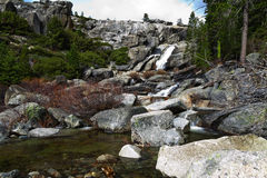 Waterfall At Top Of Chilnualna Falls Yosemite Royalty Free Stock Photo