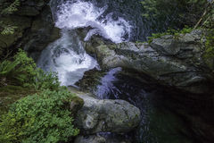 Waterfall. Top view of a waterfall in spring Stock Images