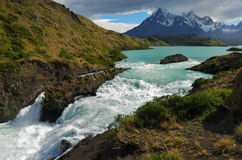 Waterfall in the Torres del Paine Royalty Free Stock Images