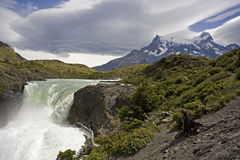 Waterfall in Torres del Paine national park chile Royalty Free Stock Photos