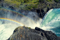 Waterfall in Torres del Paine Stock Images