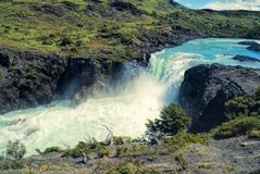 Waterfall in Torres del Paine Royalty Free Stock Images