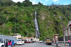 Waterfall in the town of Baños, Ecuador. One of the many waterfalls in the town of Baños, a very touristical spot in Ecuador royalty free stock photos