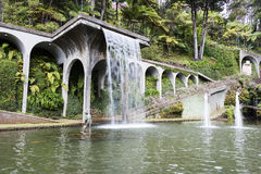 Waterfall in tripcal garden Monte Madeira Royalty Free Stock Photos