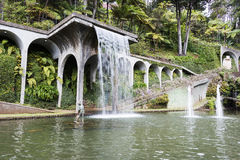 Waterfall in tripcal garden Monte Madeira Royalty Free Stock Image