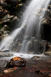 Waterfall, Troodos Cyprus. Waterfall with rocks and leaves located at Troodos mountains in Cyprus Royalty Free Stock Photo