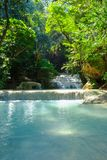 Waterfall in tropical deep forest at Erawan National Park Stock Images