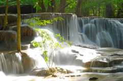 Waterfall in tropical deep forest at Huay Maekhamin Stock Photos