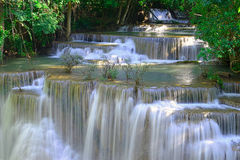 Waterfall in tropical deep forest at Huay Maekhamin Stock Photo