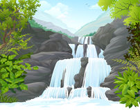 Waterfall in Tropical Forest amidst hills royalty free illustration