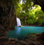 Waterfall in tropical forest royalty free stock image