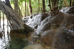 Waterfall on tropical forest near Luang Prabang Stock Photography