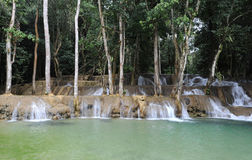 Waterfall on tropical forest near Luang Prabang Stock Photo