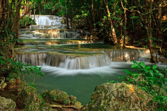 Waterfall in tropical forest, west of Thailand Stock Photos