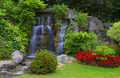 Waterfall in tropical garden. During spring season royalty free stock image