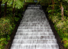 Waterfall in tropical gardens on Madeira Stock Photo