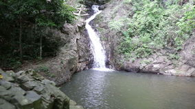 Waterfall in the tropical jungle. Falls off a cliff into the pond stock footage