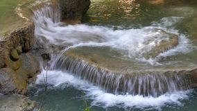 Waterfall in tropical rain forest. Waterfall in tropical rain forest, Kanchanaburi, Thailand stock video footage