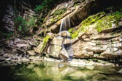 Waterfall at tropical rain forest in Thailand in cool season. Countryside stock photo