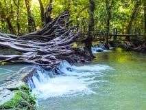 Waterfall trough rock tourist attraction Krabi Thailand beautiful island marine Stock Photos