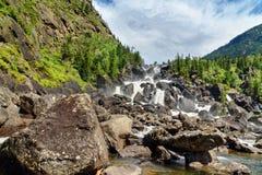 Waterfall Uchar. Altai Republic. Russia Stock Photos