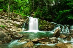 Waterfall in the Ukrainian Carpathians Stock Photography