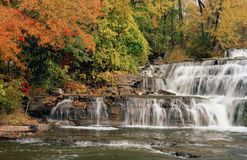 Waterfall under Autumn Colors, Ontario Canada Royalty Free Stock Photography