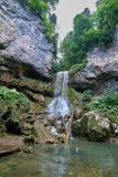 Waterfall in the mountains of the North Caucasus. University Waterfall. Stock Photos