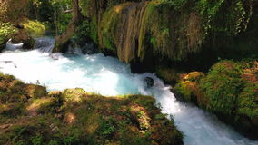Waterfall Upper Duden. View of the waterfall Upper Duden in the city of Antalya stock video