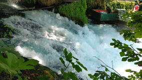 Waterfall Upper Duden. View of the waterfall Upper Duden in the city of Antalya stock video footage