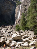 Waterfall at the upper and lower Yosemite falls Stock Images
