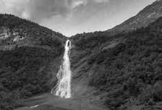 Waterfall in Utladalen black and white. Picture of Waterfall in Utladalen, Norway. Picture taken in august 2016 Stock Photography