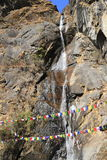 Waterfall in valley of Bhutan Stock Image